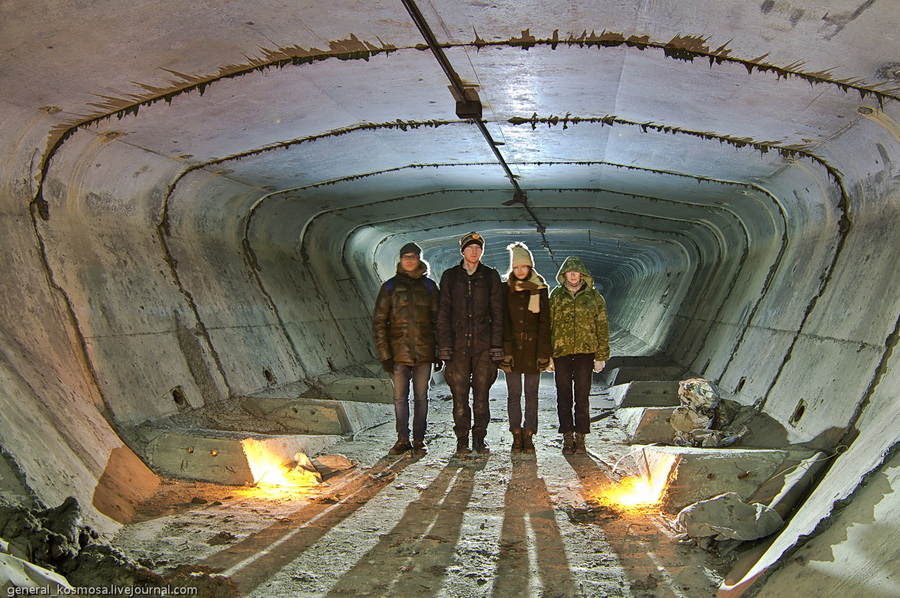 Технический туннель внутри Южного моста