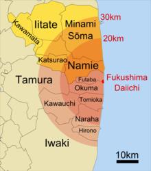 220px-Towns_evacuated_around_Fukushima_on_April_11th_2011 Заброшенный мир красной зоны отчуждения АЭС Фукусима-1