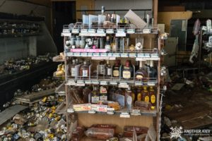 abandoned alcohol on the shelves in Fukushima exclusion zone