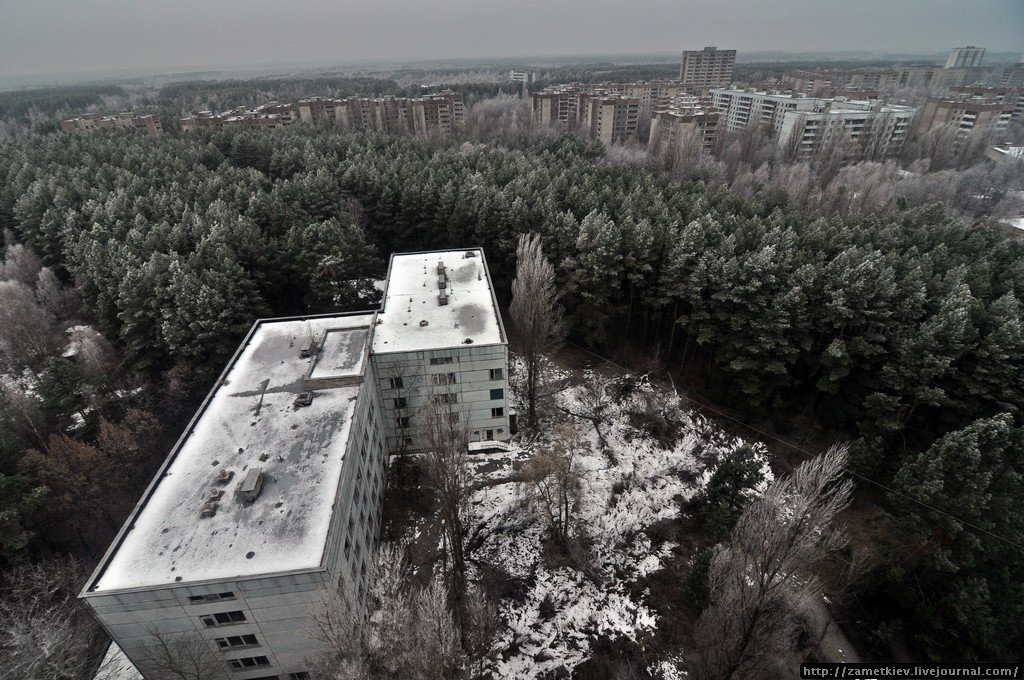 Pripyat from rooftop in winter