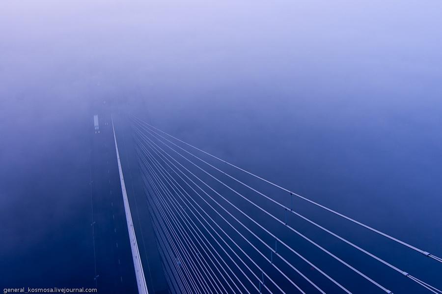 Вид с Южного моста в Киеве. Туман