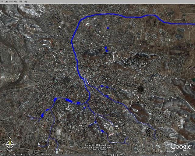 Map of Poltva river in Lviv