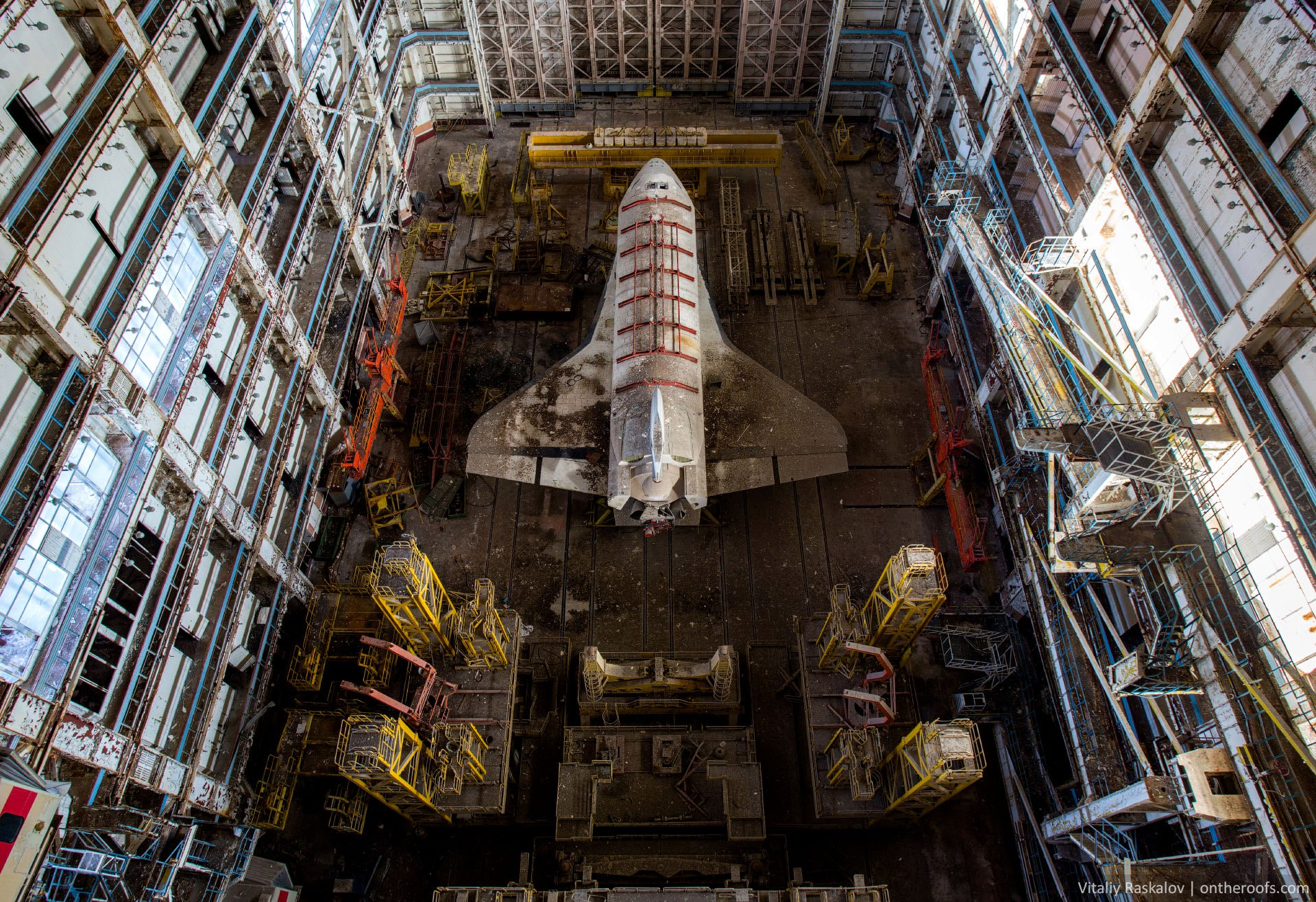 abandoned space shuttle buran in kazahstan