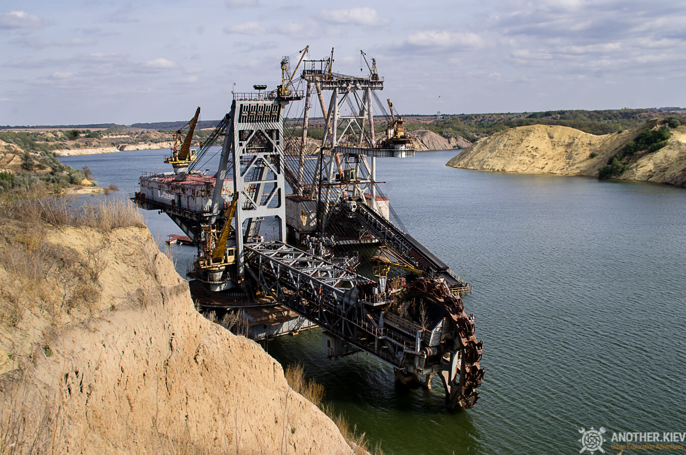 quarry and submerged excavator
