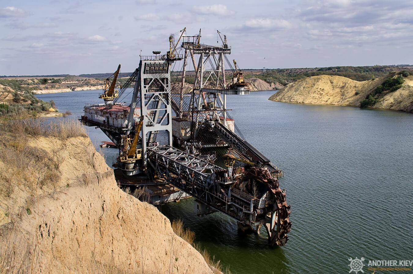 quarry and submerged excavator