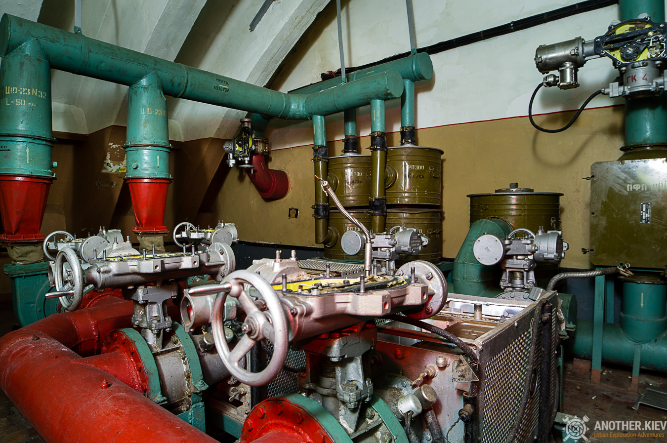 Inside ventilation system of aircraft bunker in southern Ukraine