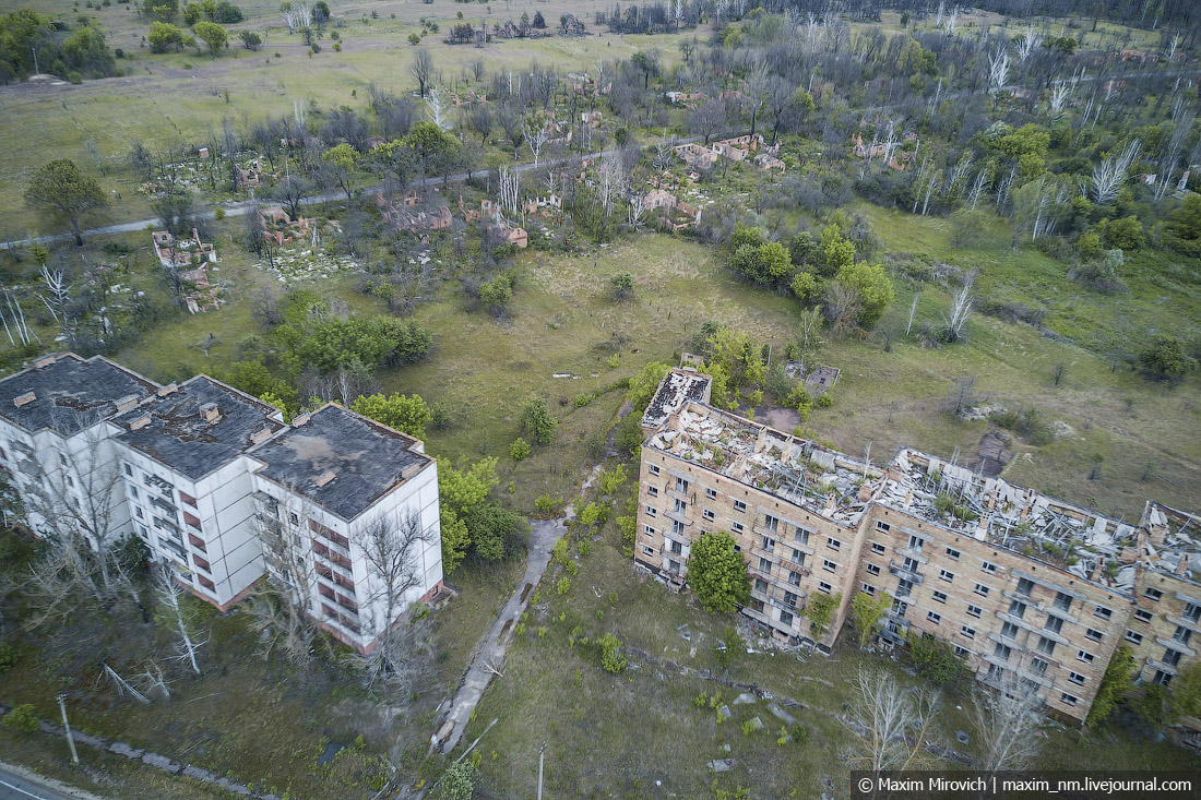 View from drone on abandoned city in Ukraine