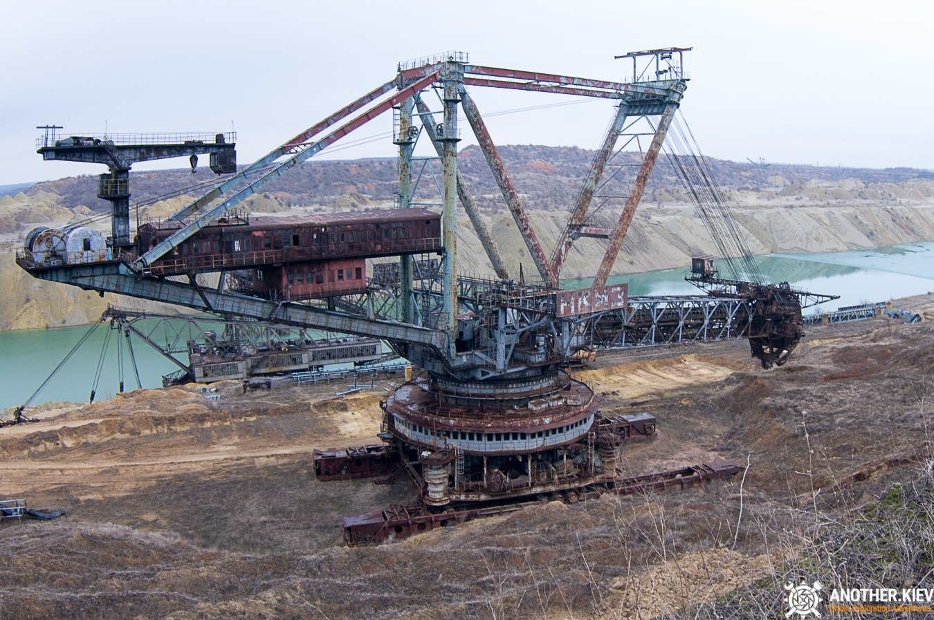 abandoned excavator in the Morozovo coal mine