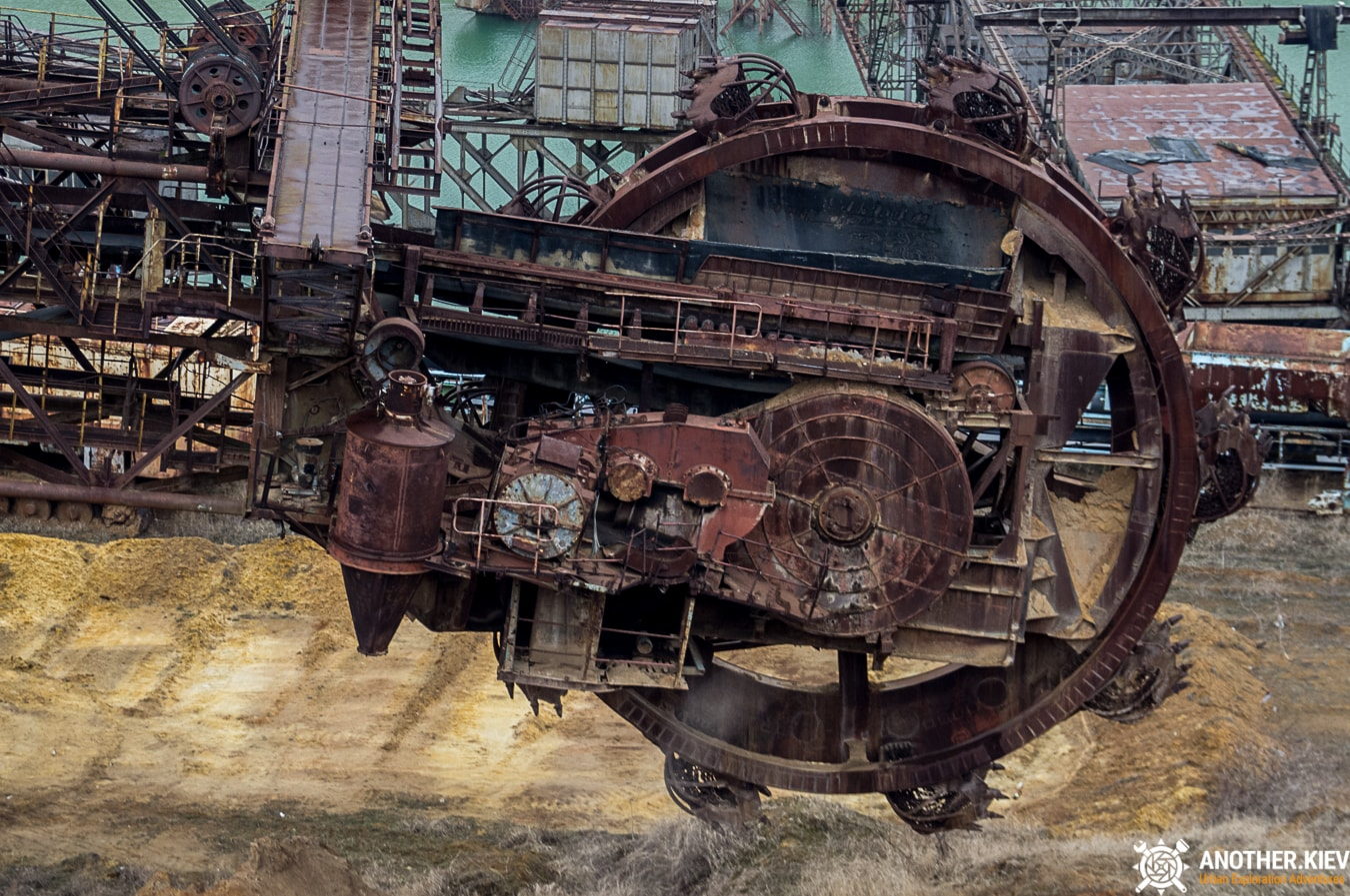 drum rotor of an abandoned excavator