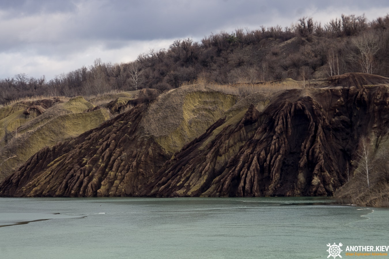 natural erosion of slopes of an abandoned quarry