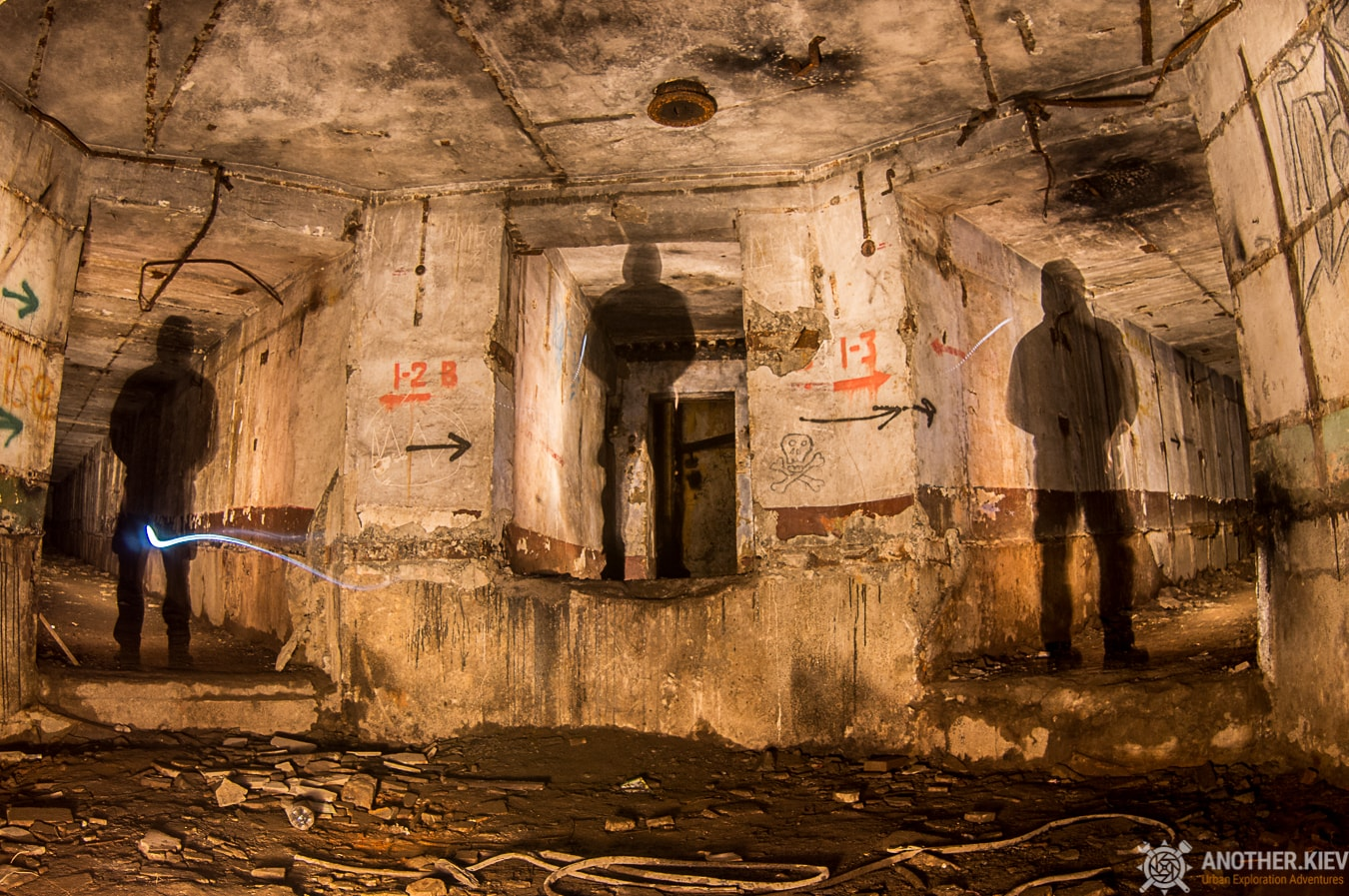 silhouettes three tunnels in abandoned missile position
