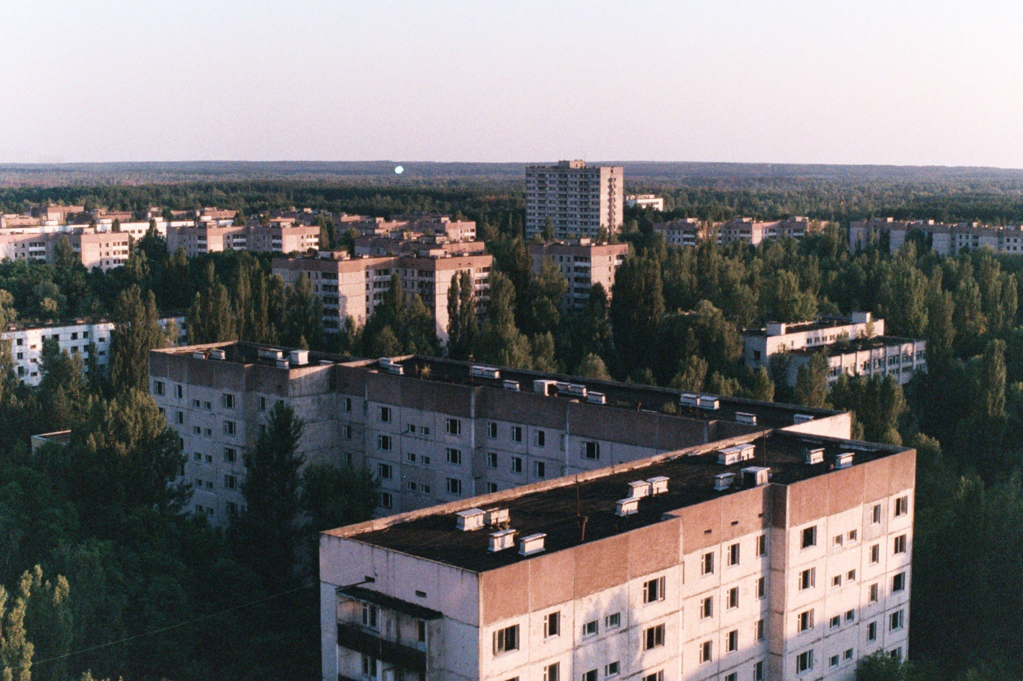Pripyat abandoned city on the sunset