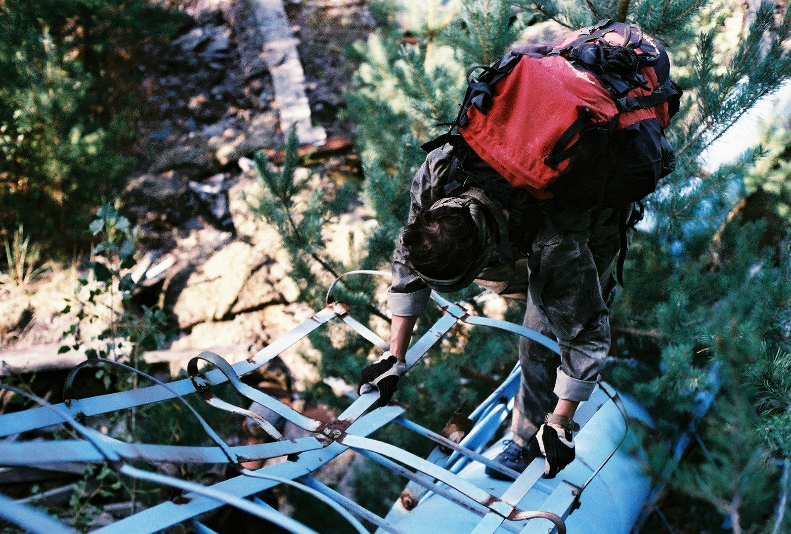 climbing on rusty construction near duga-3
