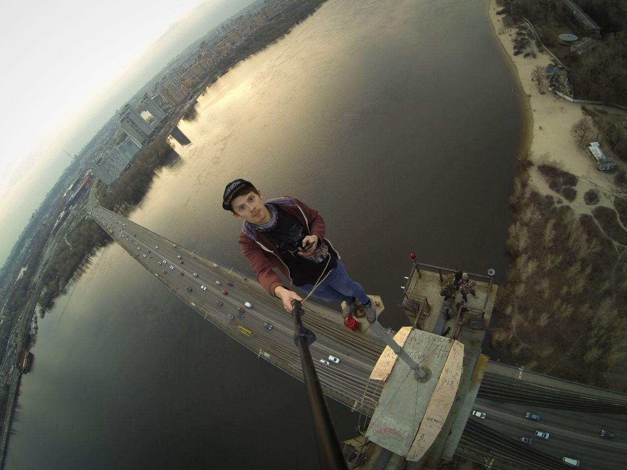 on the top of Pivnichny bridge