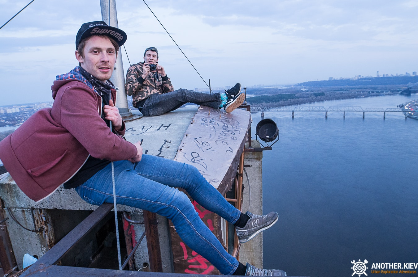 oleg and max on the moscow bridge top