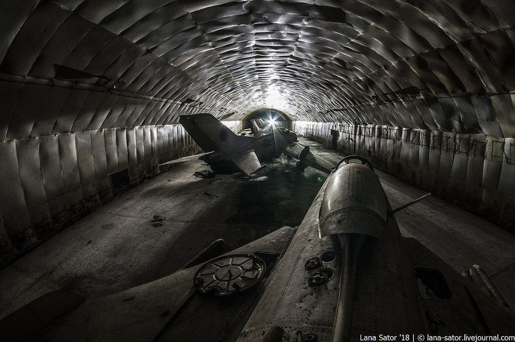 abandoned underground shelter for aircrafts in albania