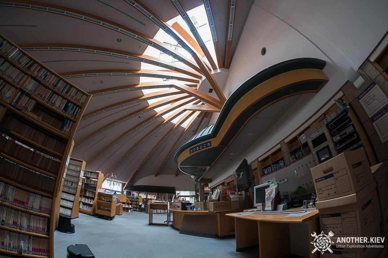 inside abandoned library in Okuma city