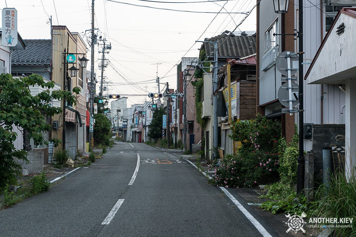 streets of abandoned Fukushima red zone town Okuma
