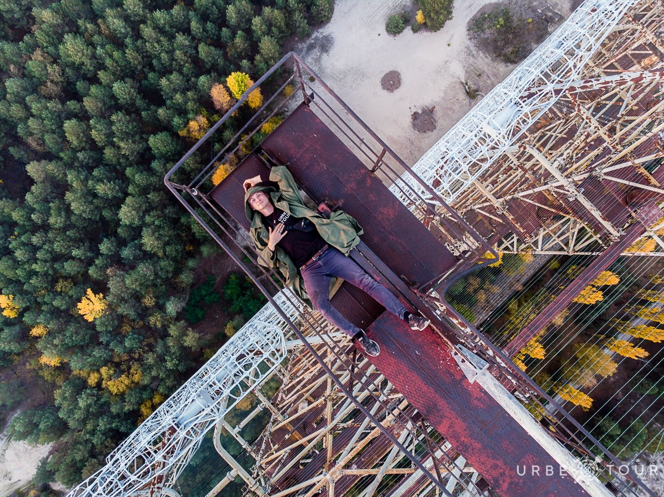 stalker on the top of russian woodpekker