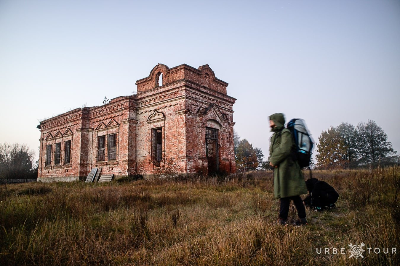 next to abandoned church in chernobyl zone