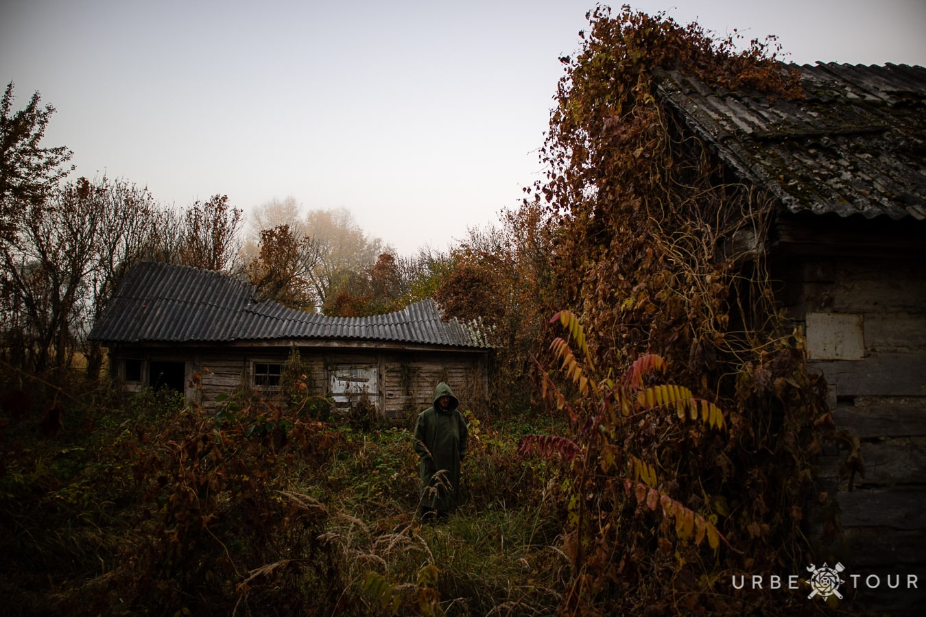 stalker in abandoned chernobyl village