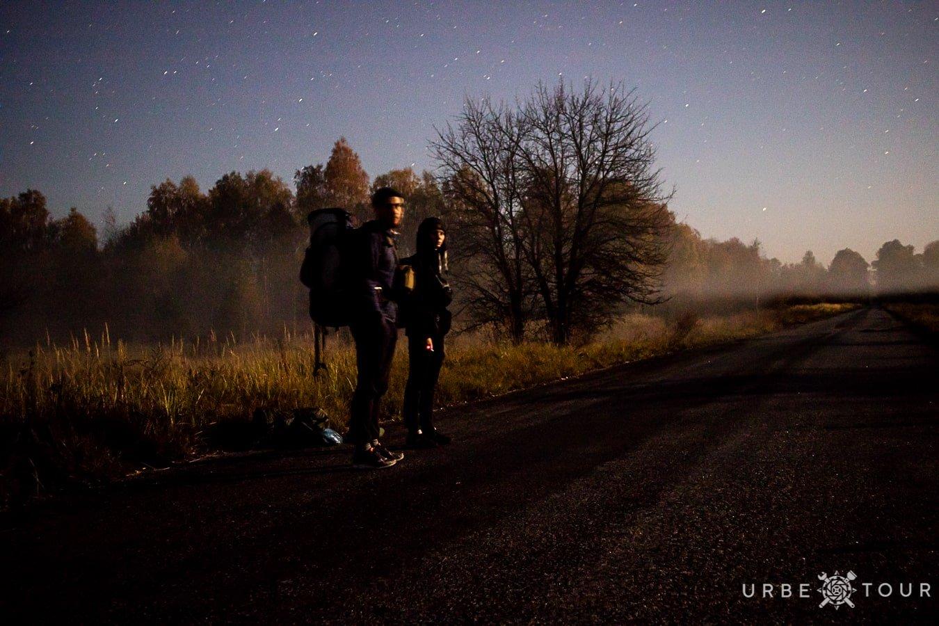 nights roads in chernobyl zone