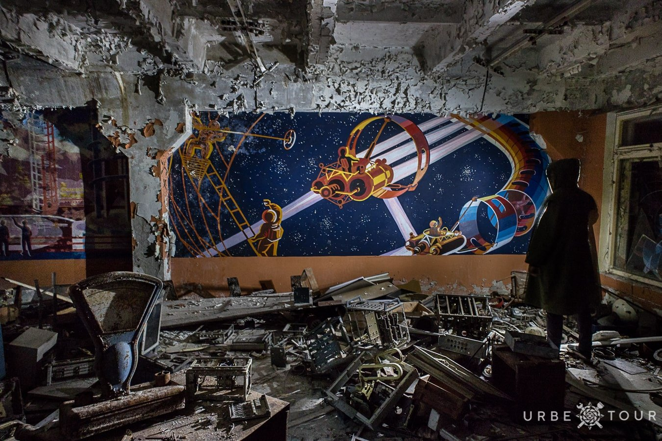 drawing in a soldier's dining room of an abandoned military town Chernobyl-2