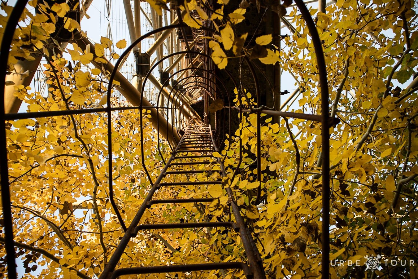 ladder to the top of radar station duga