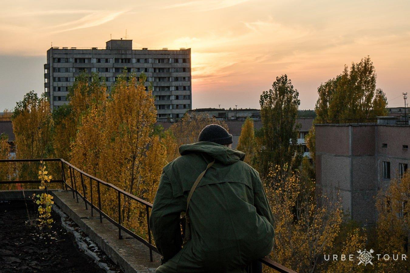 stalker is watching from the rooftop in Kiev