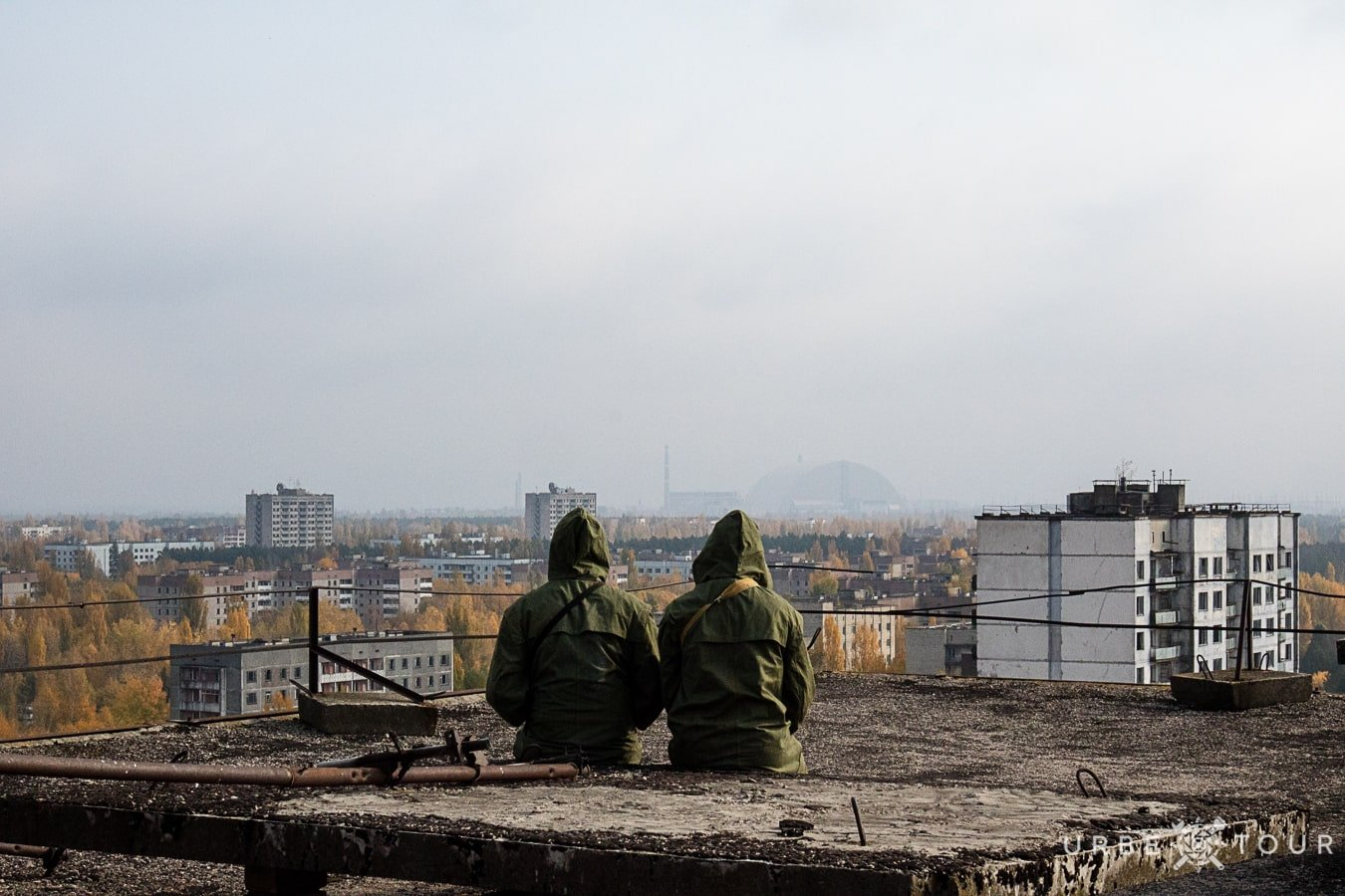 Stalkers on the rooftop in Prypiat
