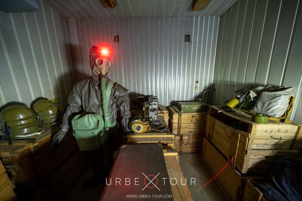 storage of gazmasks in abandoned bunker
